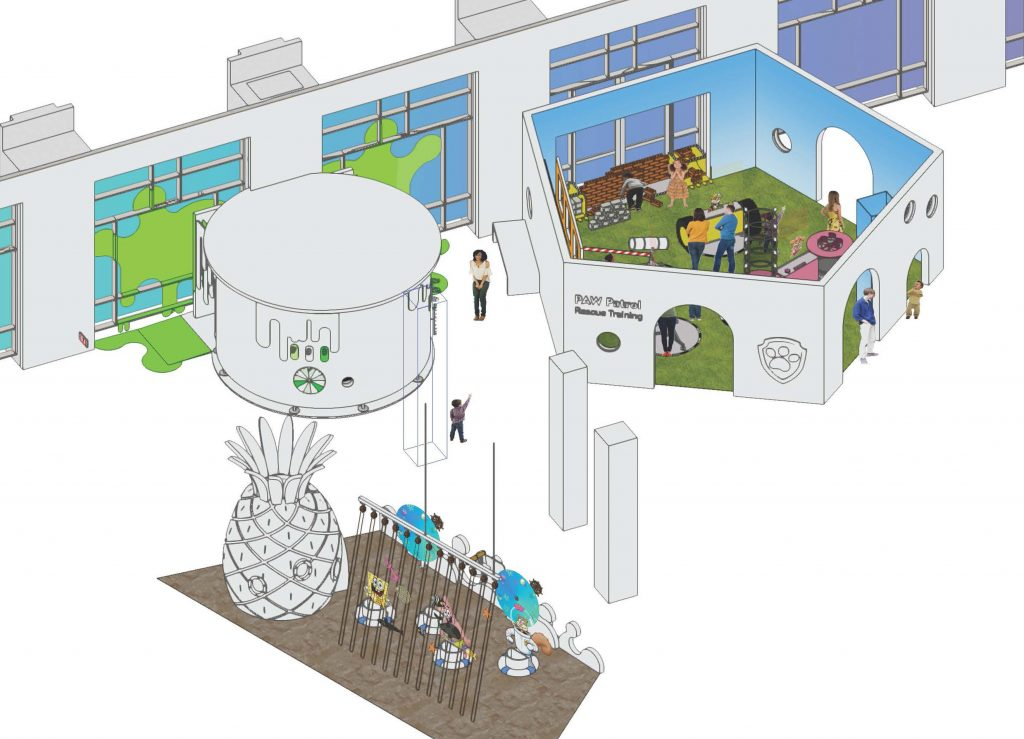 Illustration of various shaped art and technology exploration areas for young learners
