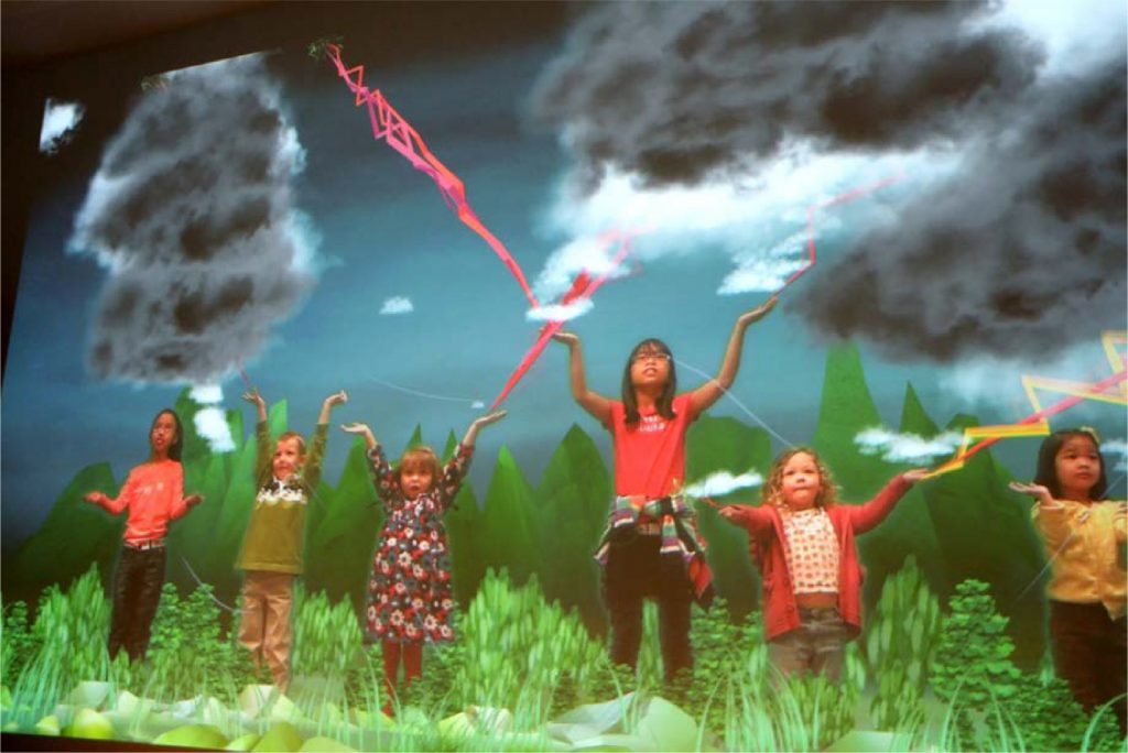 Six boys and girls raising their hands to simulate lightning